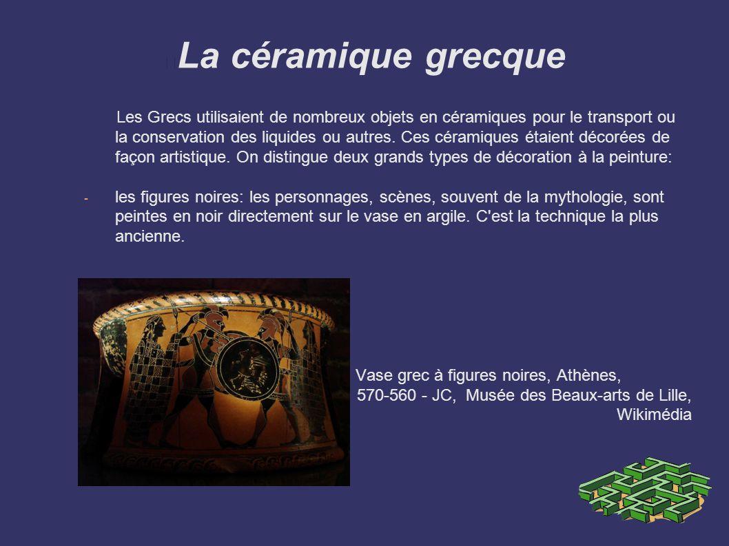 La céramique grecque Les Grecs utilisaient de nombreux objets en céramiques pour le transport ou la conservation des liquides ou autres. Ces céramique