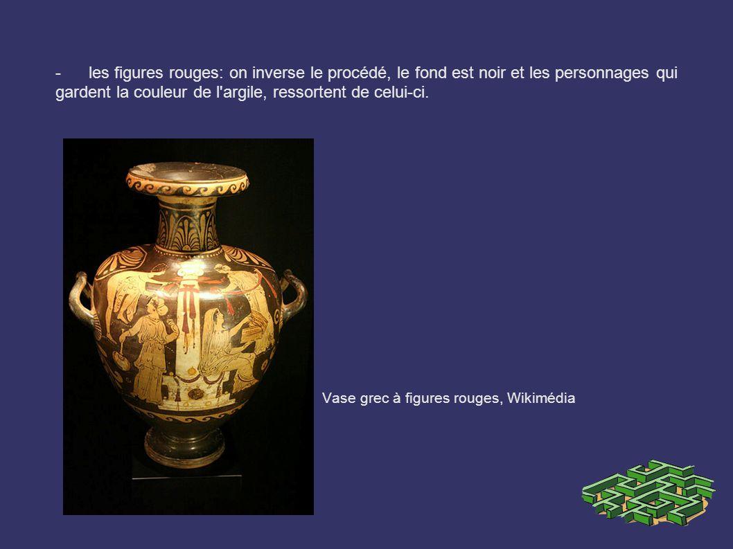 - les figures rouges: on inverse le procédé, le fond est noir et les personnages qui gardent la couleur de l'argile, ressortent de celui-ci. Vase grec