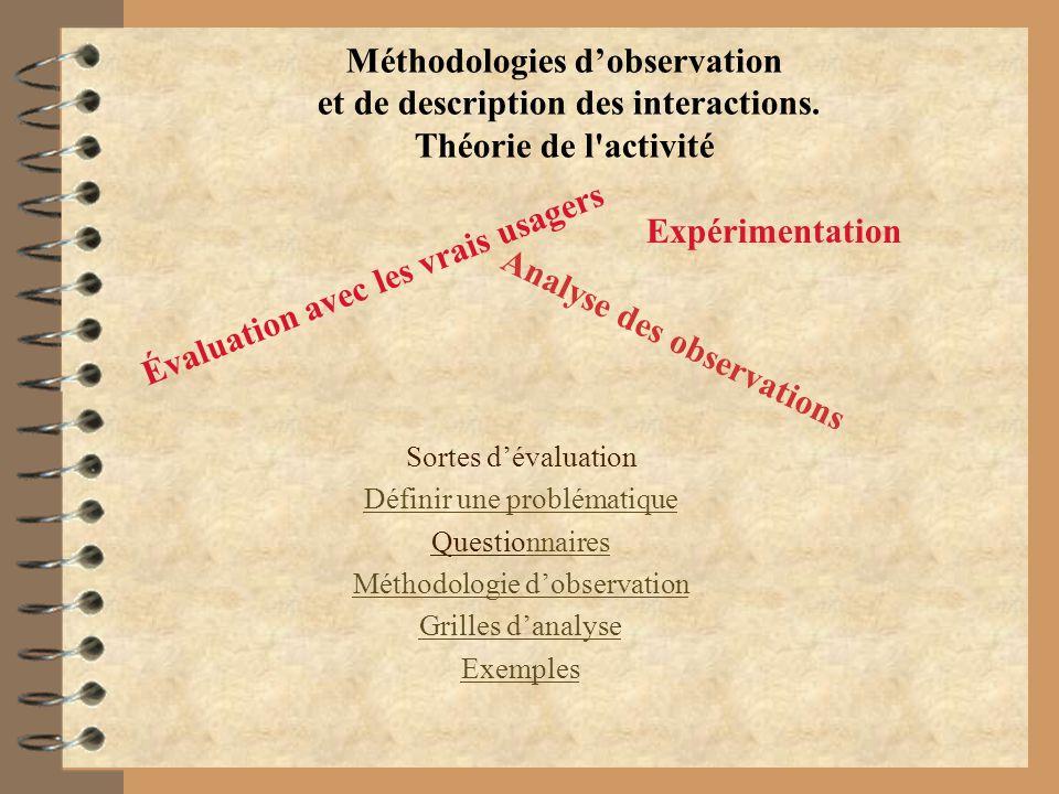 Méthodologies dobservation et de description des interactions. Théorie de l'activité Sortes dévaluation Définir une problématique Questionnairesnnaire