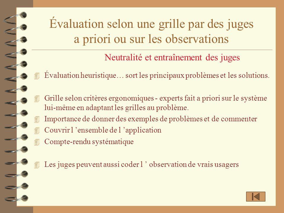 Évaluation selon une grille par des juges a priori ou sur les observations 4 Évaluation heuristique… sort les principaux problèmes et les solutions. 4