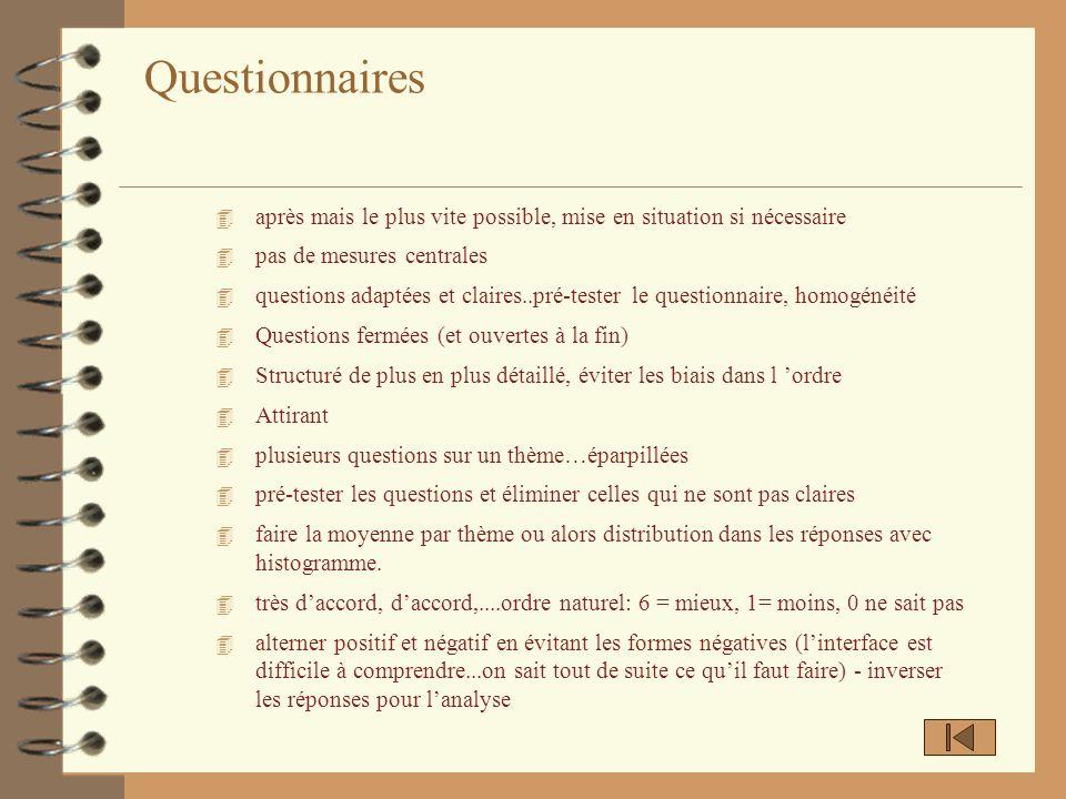 Questionnaires 4 après mais le plus vite possible, mise en situation si nécessaire 4 pas de mesures centrales 4 questions adaptées et claires..pré-tes