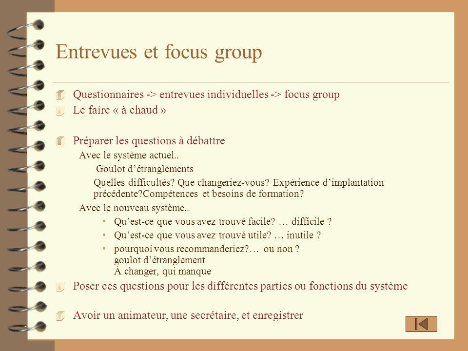 Entrevues et focus group 4 Questionnaires -> entrevues individuelles -> focus group 4 Le faire « à chaud » 4 Préparer les questions à débattre Avec le