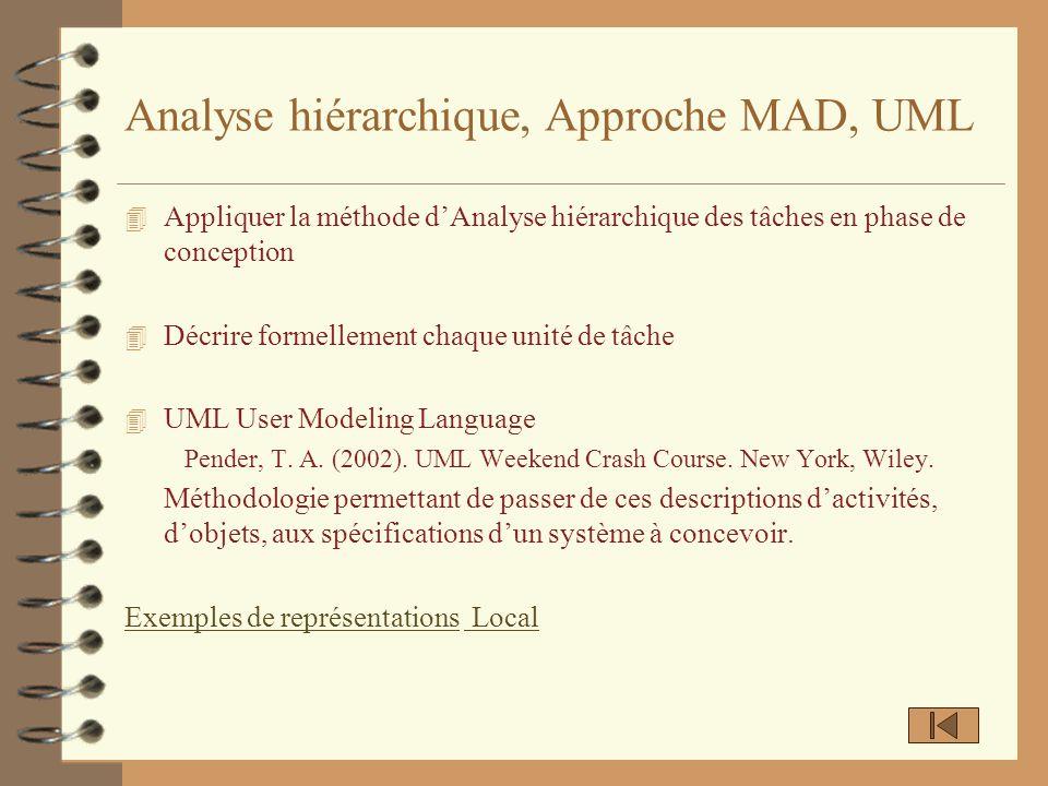 Analyse hiérarchique, Approche MAD, UML 4 Appliquer la méthode dAnalyse hiérarchique des tâches en phase de conception 4 Décrire formellement chaque u