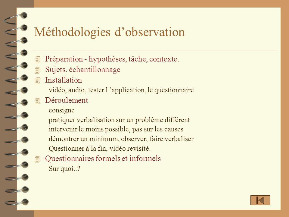 Méthodologies dobservation 4 Préparation - hypothèses, tâche, contexte. 4 Sujets, échantillonnage 4 Installation vidéo, audio, tester l application, l