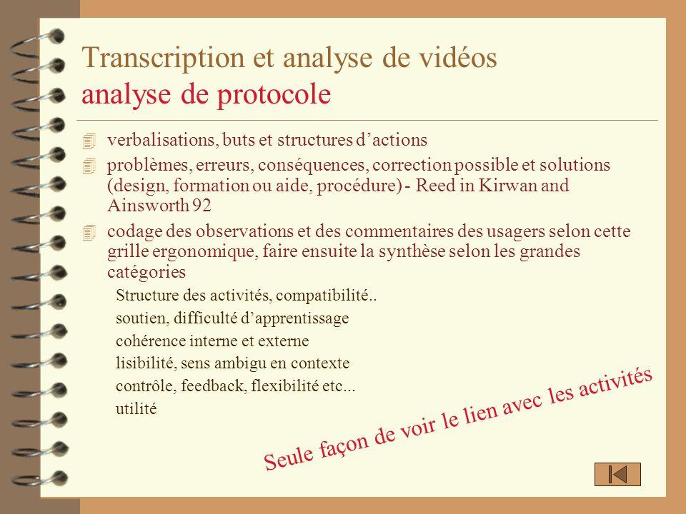 Transcription et analyse de vidéos analyse de protocole 4 verbalisations, buts et structures dactions 4 problèmes, erreurs, conséquences, correction p