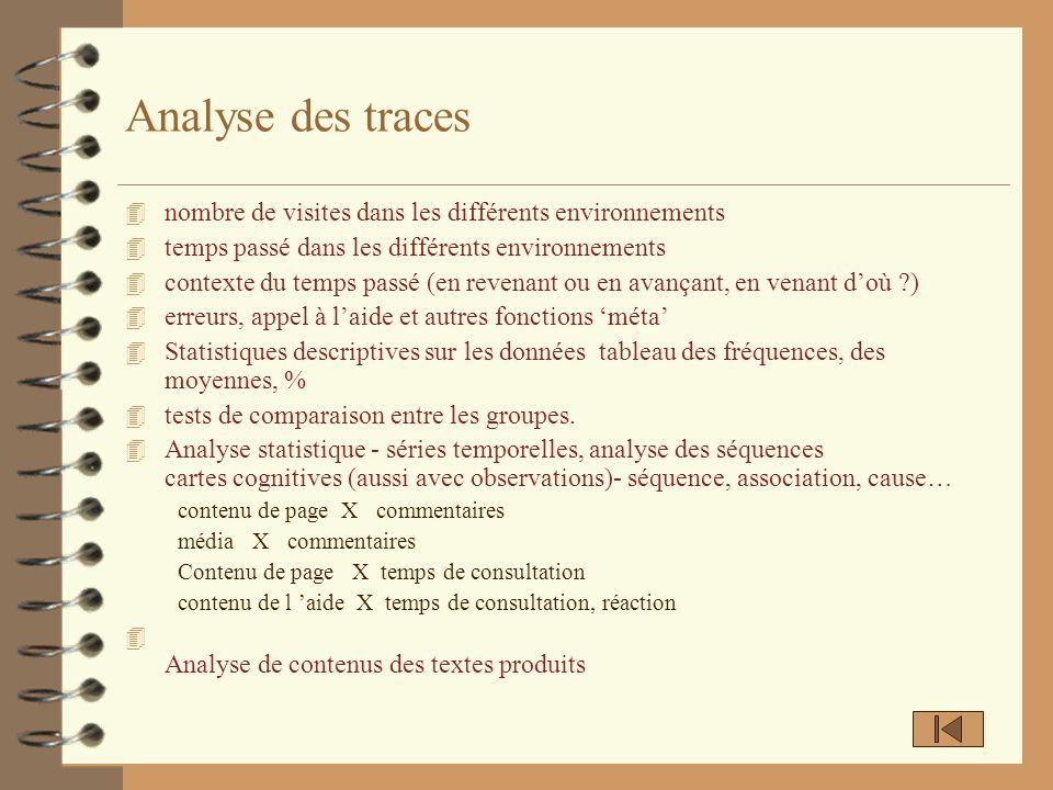 Analyse des traces 4 nombre de visites dans les différents environnements 4 temps passé dans les différents environnements 4 contexte du temps passé (