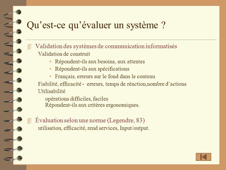 Définir une perspective une problématique Évaluer un système = adapter aux activités et au contexte Quelle est la valeur ajoutée du système .