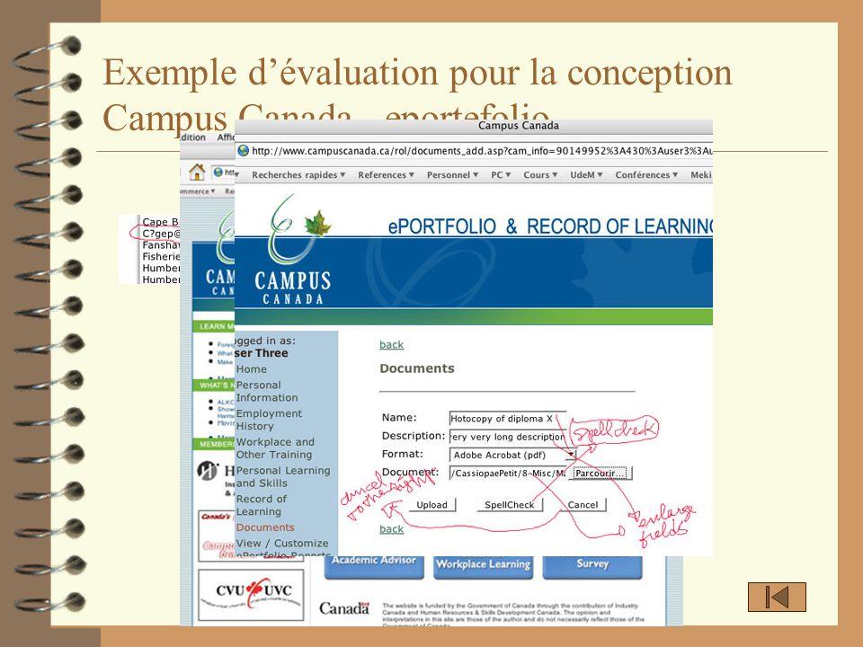 Exemple dévaluation pour la conception Campus Canada - eportefolio