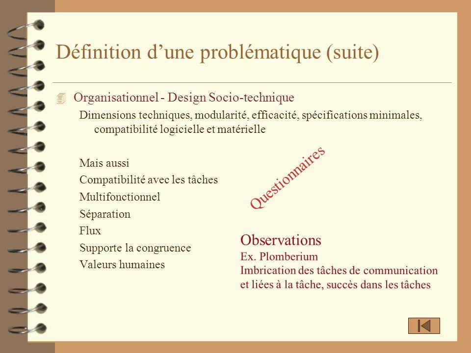 Définition dune problématique (suite) 4 Organisationnel - Design Socio-technique Dimensions techniques, modularité, efficacité, spécifications minimal