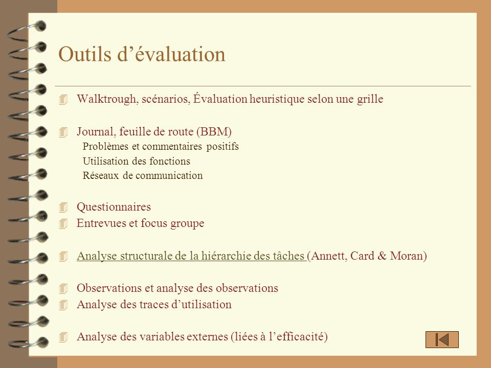 Outils dévaluation 4 Walktrough, scénarios, Évaluation heuristique selon une grille 4 Journal, feuille de route (BBM) Problèmes et commentaires positi