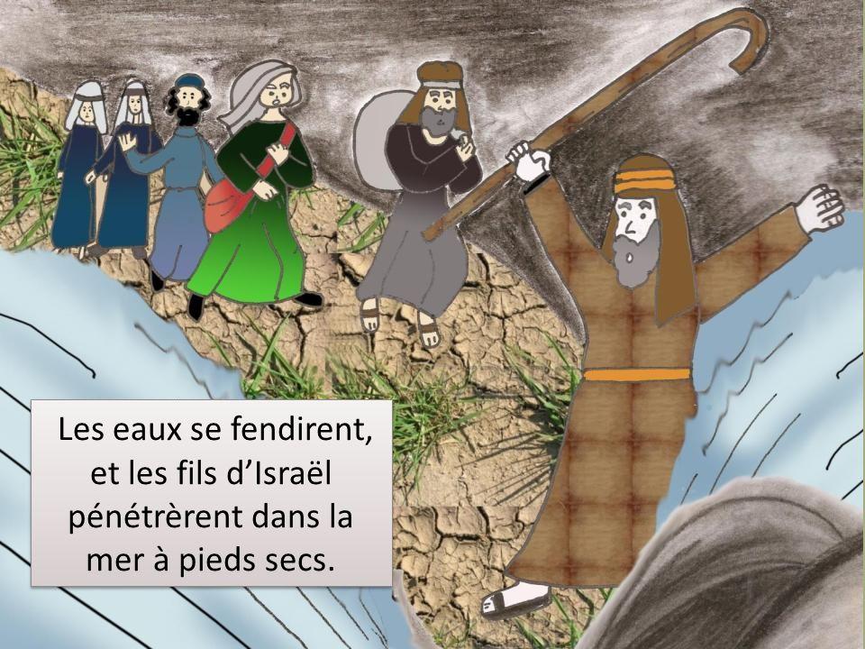 Les eaux se fendirent, et les fils dIsraël pénétrèrent dans la mer à pieds secs.