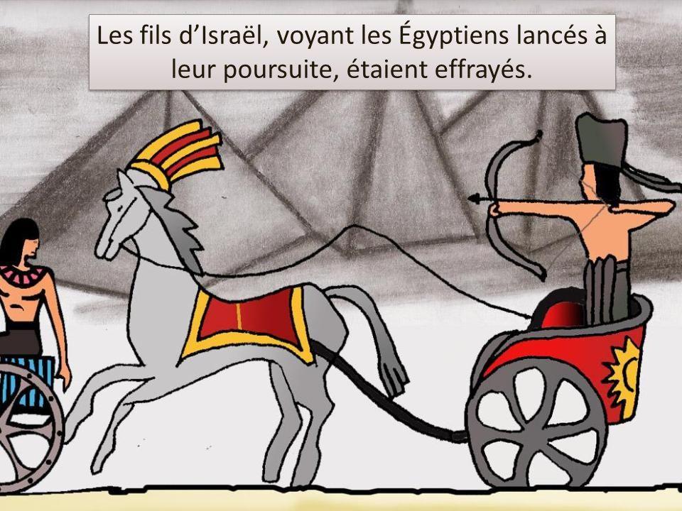 * Les fils dIsraël, voyant les Égyptiens lancés à leur poursuite, étaient effrayés.