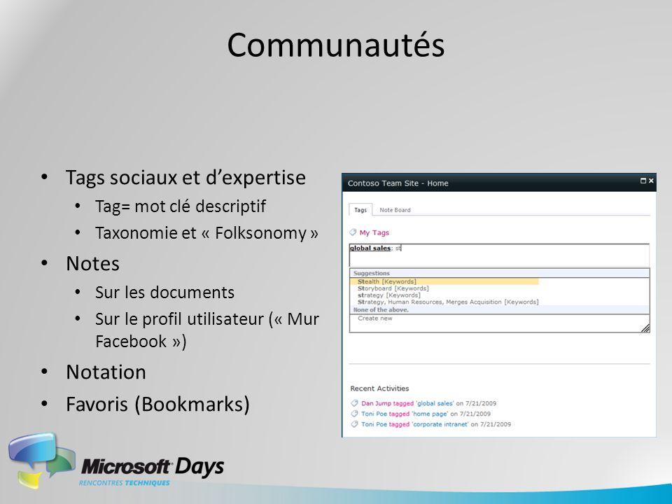 Communautés Tags sociaux et dexpertise Tag= mot clé descriptif Taxonomie et « Folksonomy » Notes Sur les documents Sur le profil utilisateur (« Mur Fa
