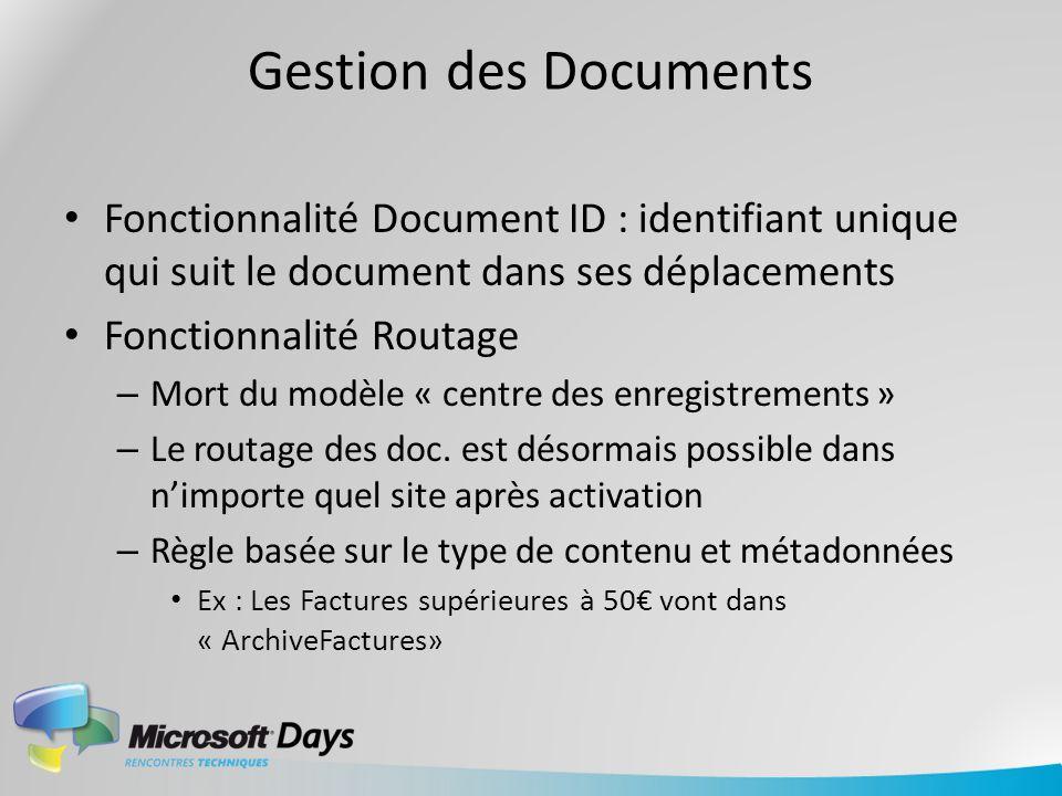 Gestion des Documents Fonctionnalité Document ID : identifiant unique qui suit le document dans ses déplacements Fonctionnalité Routage – Mort du modè