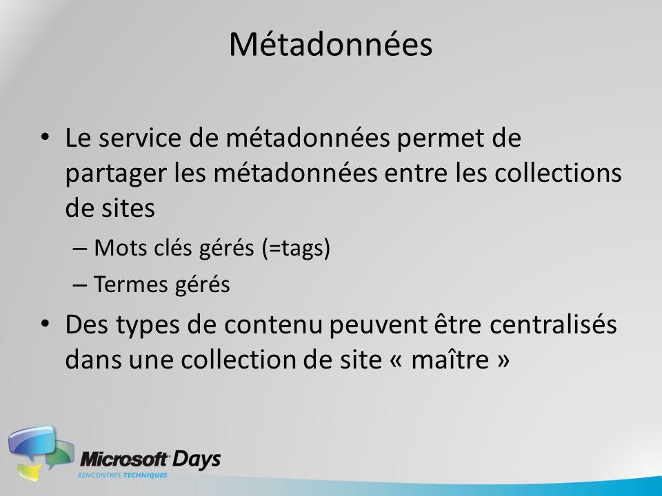 Métadonnées Le service de métadonnées permet de partager les métadonnées entre les collections de sites – Mots clés gérés (=tags) – Termes gérés Des t