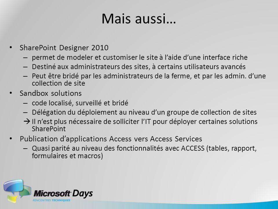 Mais aussi… SharePoint Designer 2010 – permet de modeler et customiser le site à laide dune interface riche – Destiné aux administrateurs des sites, à