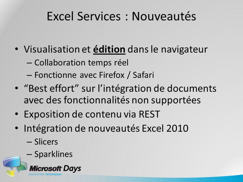 Excel Services : Nouveautés Visualisation et édition dans le navigateur – Collaboration temps réel – Fonctionne avec Firefox / Safari Best effort sur