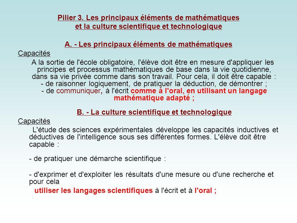 Pilier 3. Les principaux éléments de mathématiques et la culture scientifique et technologique A. - Les principaux éléments de mathématiques Capacités