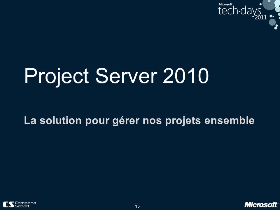 15 Project Server 2010 La solution pour gérer nos projets ensemble