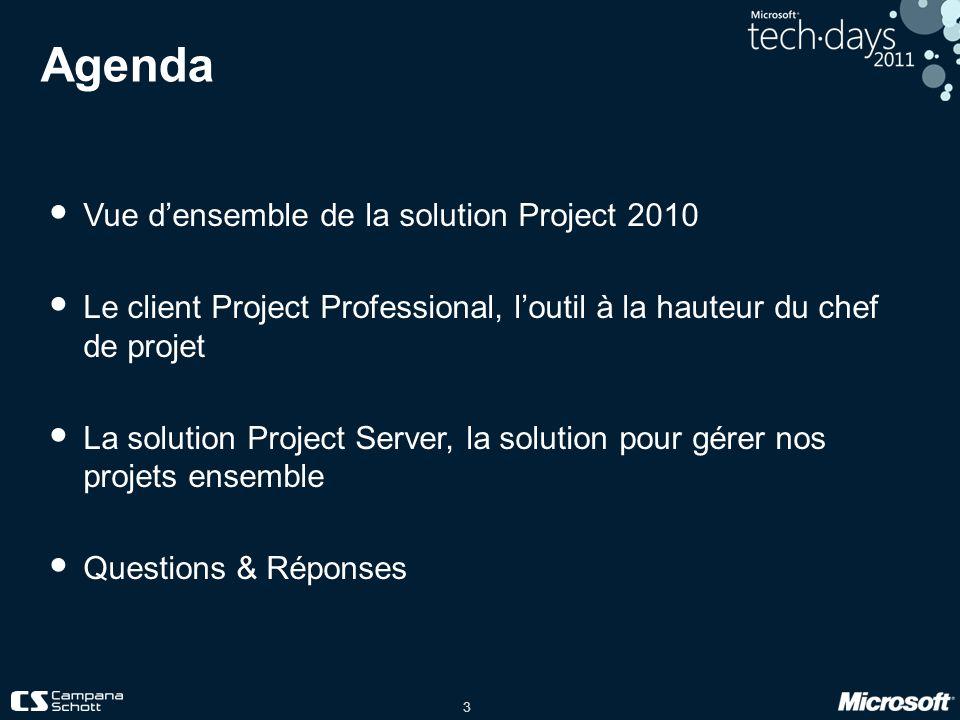 3 Agenda Vue densemble de la solution Project 2010 Le client Project Professional, loutil à la hauteur du chef de projet La solution Project Server, l
