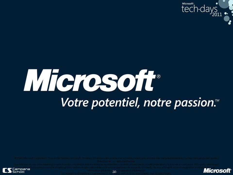 30 © 2009 Microsoft Corporation. Tous droits réservés. Microsoft, Windows, Windows Vista et les autres noms de produits peuvent être des marques dépos