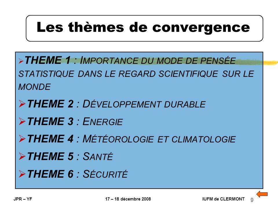 9 Les thèmes de convergence JPR – YF 17 – 18 décembre 2008 IUFM de CLERMONT THEME 1 : I MPORTANCE DU MODE DE PENSÉE STATISTIQUE DANS LE REGARD SCIENTI