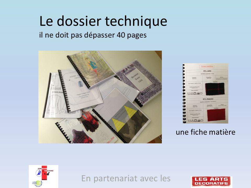 une fiche matière En partenariat avec les Le dossier technique il ne doit pas dépasser 40 pages