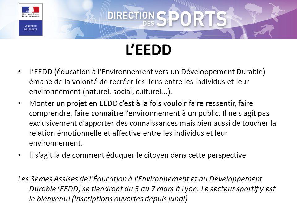 LEEDD LEEDD (éducation à l Environnement vers un Développement Durable) émane de la volonté de recréer les liens entre les individus et leur environnement (naturel, social, culturel...).