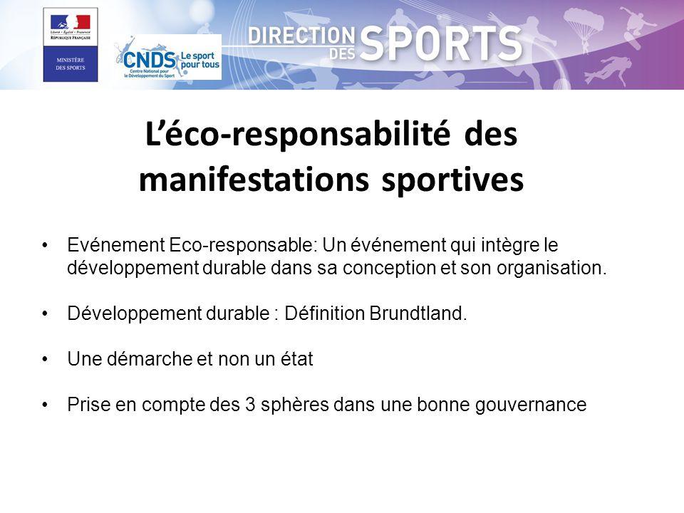 Léco-responsabilité des manifestations sportives Evénement Eco-responsable: Un événement qui intègre le développement durable dans sa conception et son organisation.