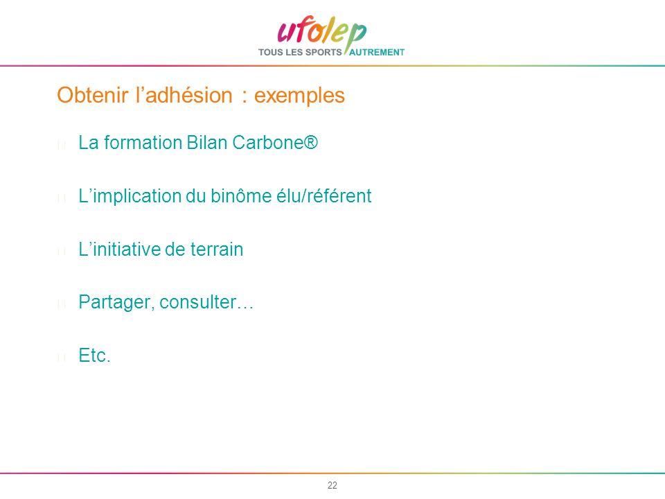 22 Obtenir ladhésion : exemples La formation Bilan Carbone® Limplication du binôme élu/référent Linitiative de terrain Partager, consulter… Etc.
