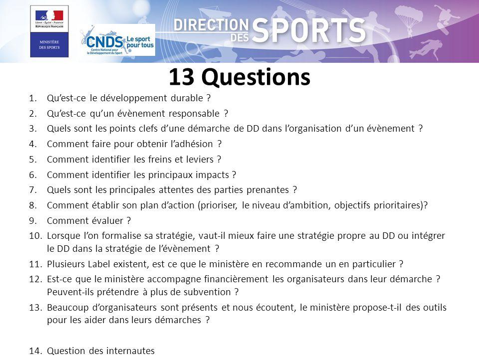 13 Questions 1.Quest-ce le développement durable .