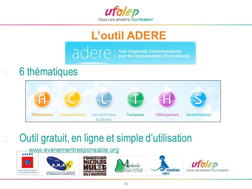 30 Loutil ADERE 6 thématiques Outil gratuit, en ligne et simple dutilisation – www.evenementresponsable.org www.evenementresponsable.org