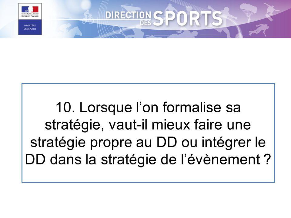 10. Lorsque lon formalise sa stratégie, vaut-il mieux faire une stratégie propre au DD ou intégrer le DD dans la stratégie de lévènement ?