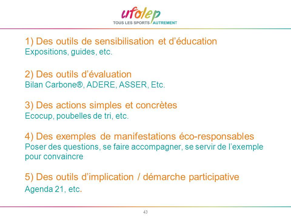 43 1) Des outils de sensibilisation et déducation Expositions, guides, etc.