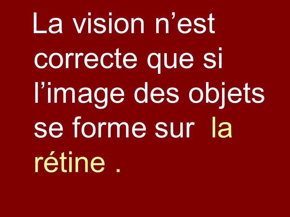 La vision nest correcte que si limage des objets se forme sur la rétine.