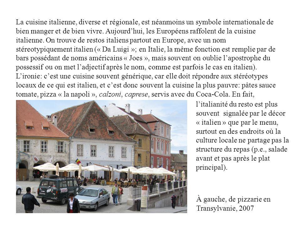 La cuisine italienne, diverse et régionale, est néanmoins un symbole internationale de bien manger et de bien vivre.