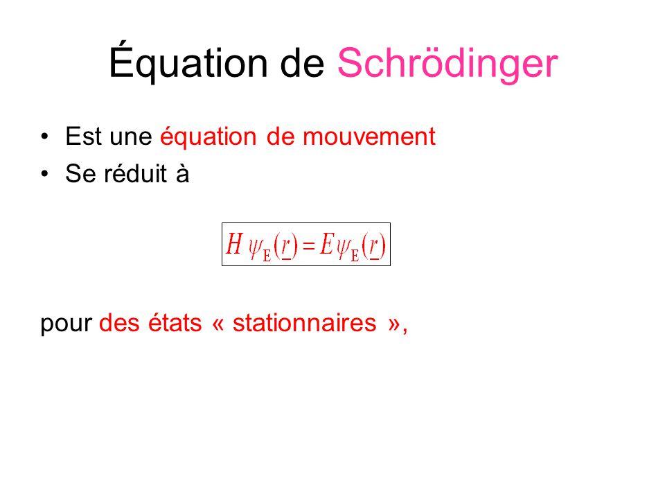 Équation de Schrödinger Est une équation de mouvement Se réduit à pour des états « stationnaires »,