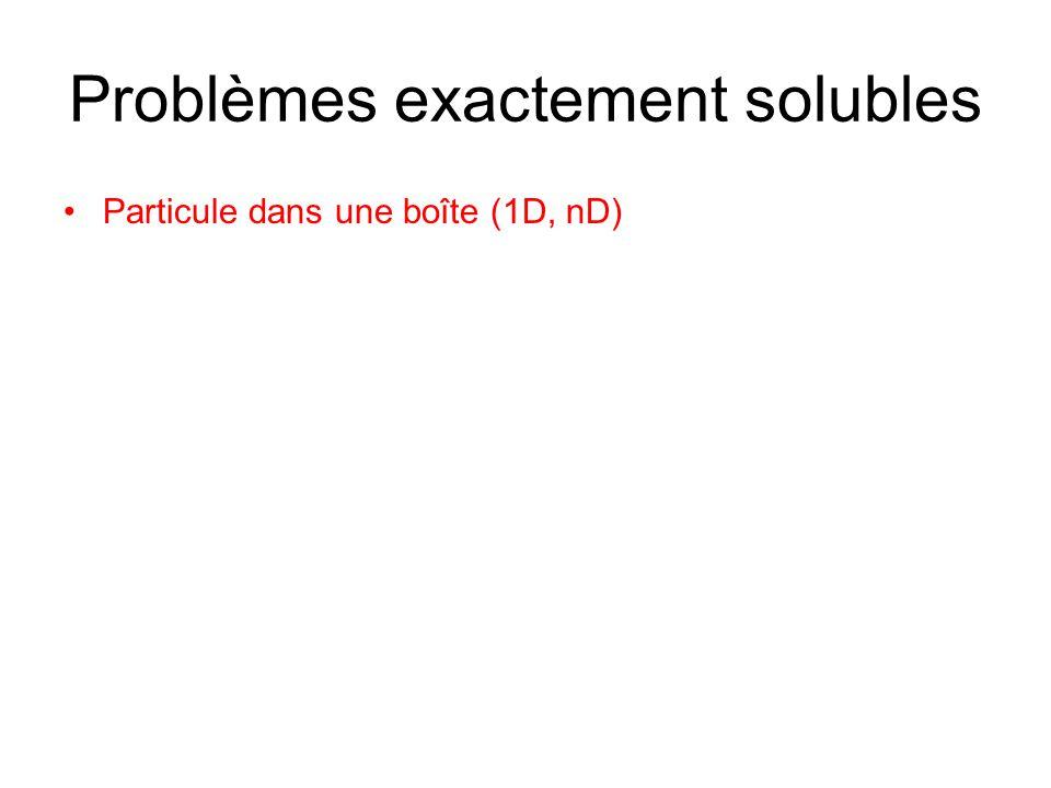 Problèmes exactement solubles Particule dans une boîte (1D, nD)