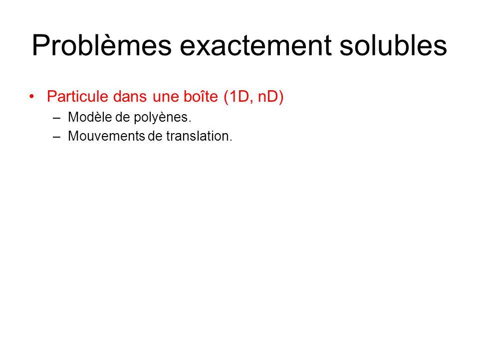 Problèmes exactement solubles Particule dans une boîte (1D, nD) –Modèle de polyènes. –Mouvements de translation.