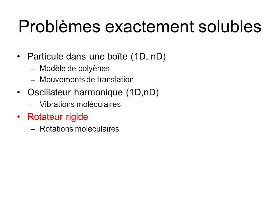 Problèmes exactement solubles Particule dans une boîte (1D, nD) –Modèle de polyènes. –Mouvements de translation. Oscillateur harmonique (1D,nD) –Vibra