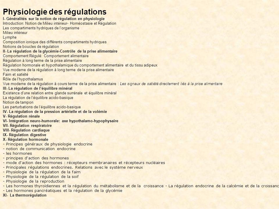 La régulation de léquilibre minéral