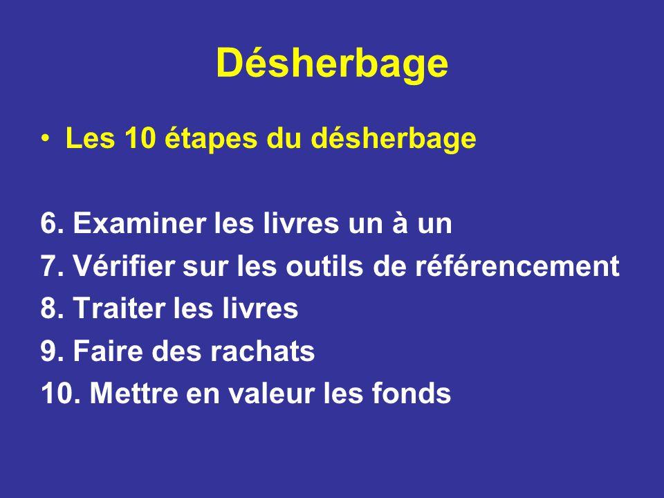 Désherbage Les 10 étapes du désherbage 6. Examiner les livres un à un 7. Vérifier sur les outils de référencement 8. Traiter les livres 9. Faire des r