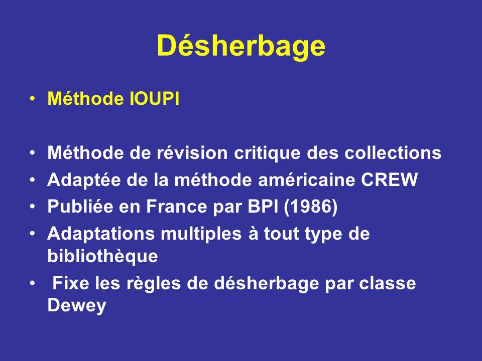 Désherbage Méthode IOUPI Méthode de révision critique des collections Adaptée de la méthode américaine CREW Publiée en France par BPI (1986) Adaptatio