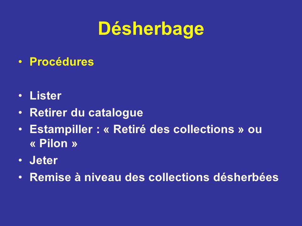 Désherbage Procédures Lister Retirer du catalogue Estampiller : « Retiré des collections » ou « Pilon » Jeter Remise à niveau des collections désherbé