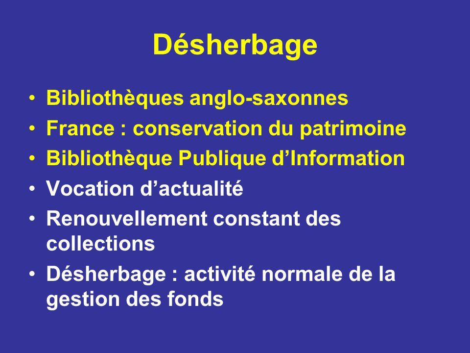 Bibliothèques anglo-saxonnes France : conservation du patrimoine Bibliothèque Publique dInformation Vocation dactualité Renouvellement constant des co