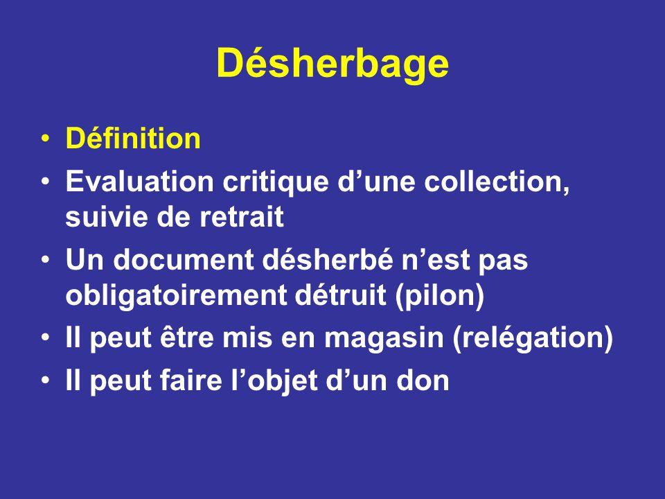 Désherbage Définition Evaluation critique dune collection, suivie de retrait Un document désherbé nest pas obligatoirement détruit (pilon) Il peut êtr