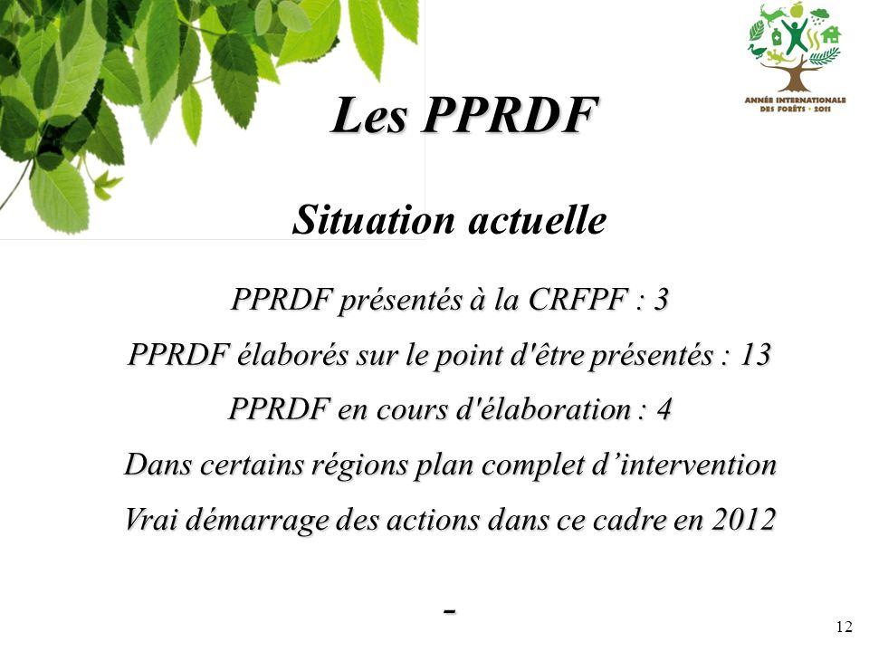12 Les PPRDF Situation actuelle PPRDF présentés à la CRFPF : 3 PPRDF élaborés sur le point d'être présentés : 13 PPRDF en cours d'élaboration : 4 Dans