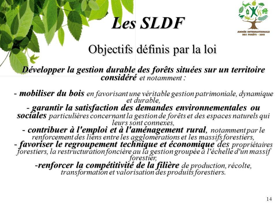 14 Les SLDF Objectifs définis par la loi Objectifs définis par la loi Développer la gestion durable des forêts situées sur un territoire considéré et