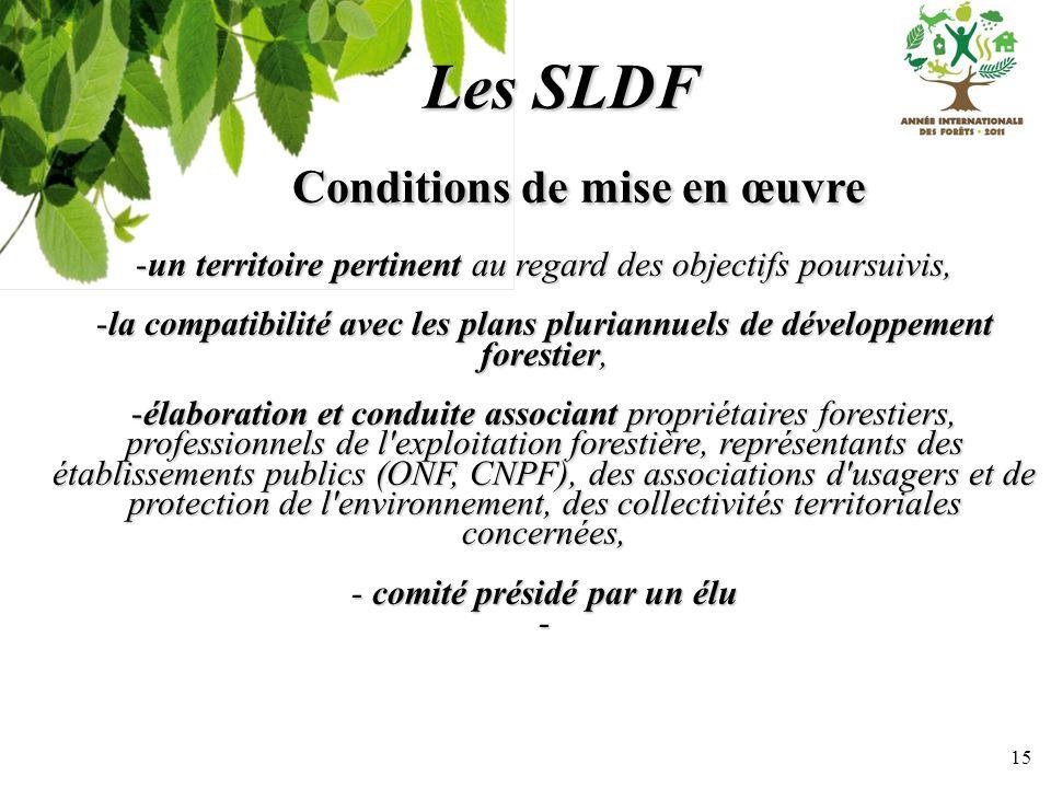 15 Les SLDF Conditions de mise en œuvre Conditions de mise en œuvre -un territoire pertinent au regard des objectifs poursuivis, -la compatibilité ave