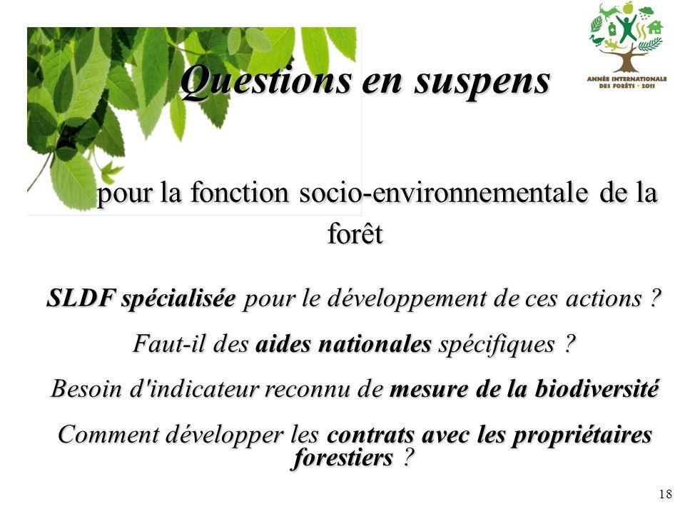 18 Questions en suspens pour la fonction socio-environnementale de la forêt pour la fonction socio-environnementale de la forêt SLDF spécialisée pour